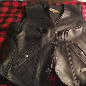 Harley Davidson Women's Leather Vest S Black